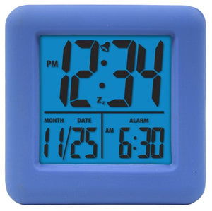 Equity by La Crosse Soft Cube LCD Digital Alarm Clock, (Blue, Pink)