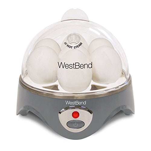 West Bend Automatic Electric Cooker, Hard-or Soft-Cook 7 or 2 Poached or Scrambled, 360 Watts, Gray, 7-Egg, 360-Watts