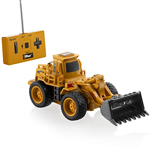 Top Race 4 Channel Mini Remote Control Front Loader Bulldozer 1:64 Scale, Mini Construction Toys Series, TR-013 (1xAA)