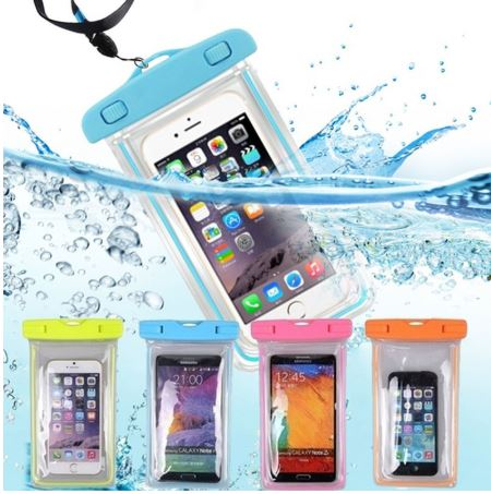 Waterproof Phone Bag, Touch Sensitive, Neck Strap, Fluorescent Outline, Assorted Colors