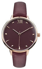 Geneva Gold Tone Refined Leather Band Watch, Burgundy