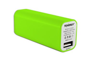 Tenergy 2600mAh Lipstick Portable Power Bank Charger Battery Pack, Green BATTPACK