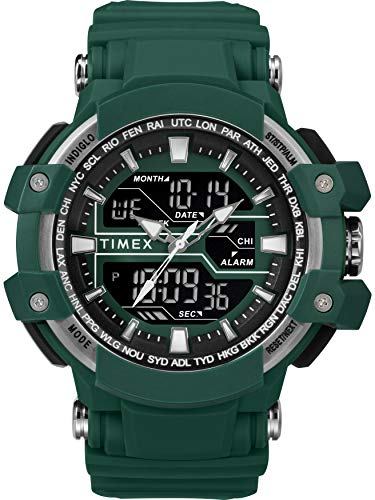 Timex Men's TW5M22800 DGTL Tactic Big Combo 53mm Marine Green/Gray Resin Strap Watch