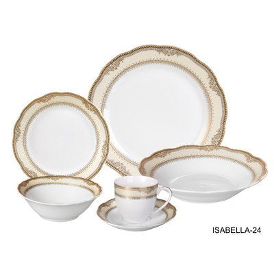 Wavy Edge Collection 24 Piece Porcelain Dinnerware Set, Service For 4