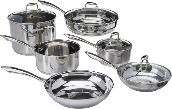 KitchenAid KCSS10LS 10-Piece Cookware Set - Polished Stainless Steel