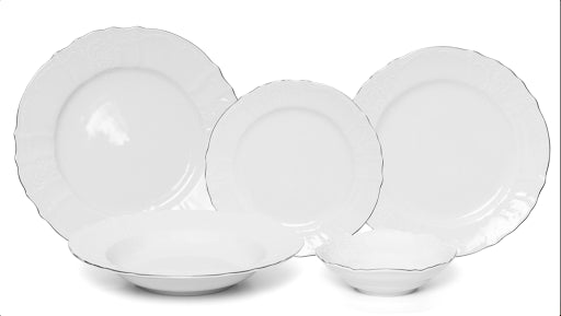 Bernadotte 20 Piece Porcelain Dinnerware, White Platinum, Service for 4