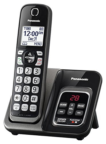 Panasonic KX-TGD530M DECT 6.0 1 Handset Cordless Telephone, Black - Talking Caller ID; Call Block; Voicemail; Answer Machine;No headset jack 3-way Conference; Up to 6 Handsets