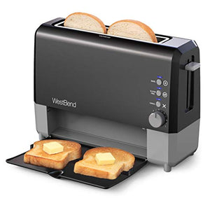 West Bend QuikServe Slide Through Wide Slot Toaster with Cool Touch Exterior and Removable Crumb Tray, 2 Slice, Black