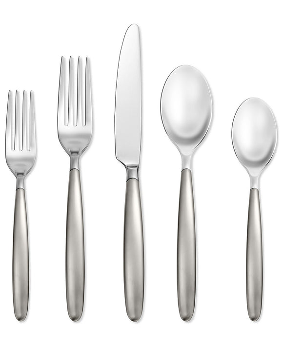 Hampton Forge Skandia Tidal Frosted 5 Piece Place Setting (18/0 Steel, Dishwasher Safe)