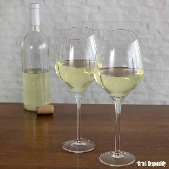 Cork Pops 23355 Clear Glass Cascata White Wine Stemware, Angled for Enhanced Experience,  Set of 2