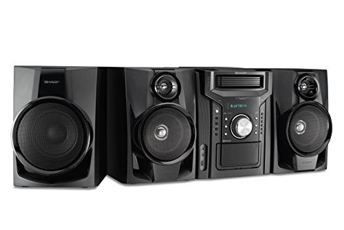 Sharp BHS1050 350W 5 Disc Mini Shelf Speaker/Subwoofer System with Cassette and Bluetooth, AM/FM Digital Tuner, USB Port for MP3 Playback, 350W RMS Power Output and 875W Peak Power, Remote Included