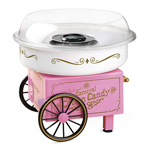 Nostalgia PCM306PK Vintage Hard Free Countertop Cotton Candy Maker, Includes 2 Reusable Cones And Sugar Scoop – Pink