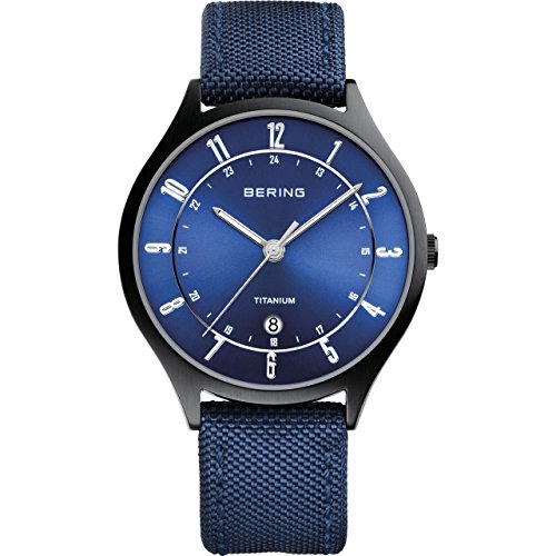 Bering Men's Titanium Watch, Black / Blue
