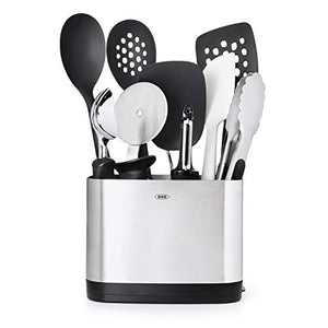 OXO Good Grips 10-Piece Kitchen Utensil Set and Stainless Steel Utensil Holder.