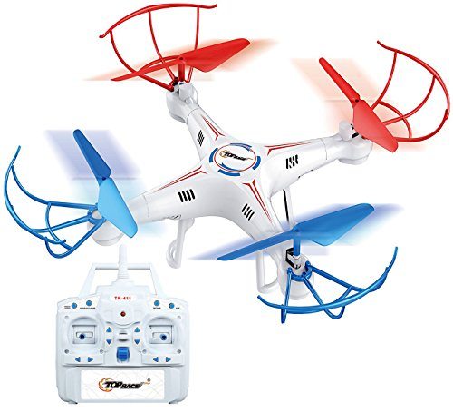 Top Race 4 Channel Quad Copter Drone, Ultra Stable with 1 Key Return & Headless Mode Option, TR-411, No Camera