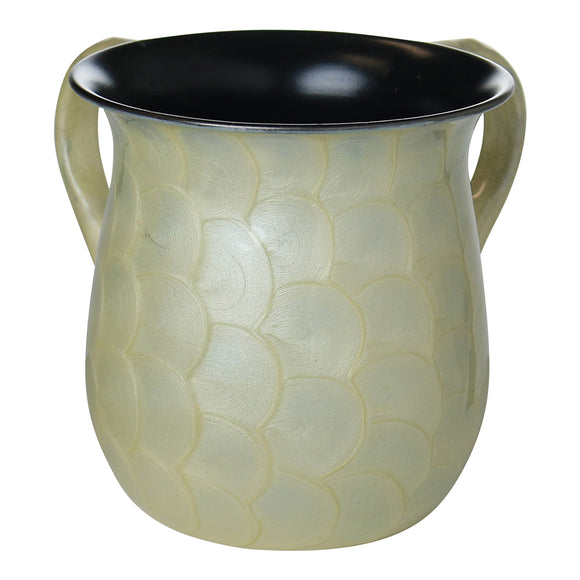 A&M Judaica Washing Cup Stainless Steel Enamel Finish Ivory