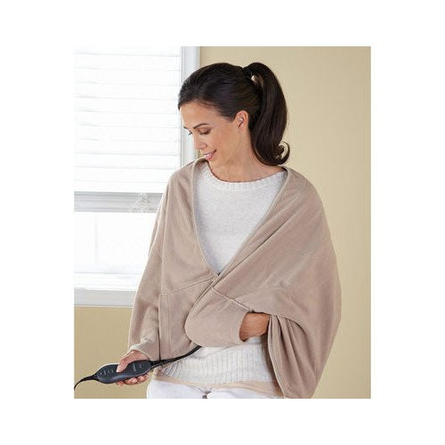 Sunbeam Chill Away Heated Fleece Wrap, Sand