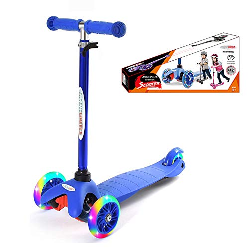 ChromeWheels Three Wheels Kick Scooter for Kids with Adjustable Height, Extra-Wide Deck, PU Flashing Light Up Wheels, for Children from 3 to 6 Years, Blue