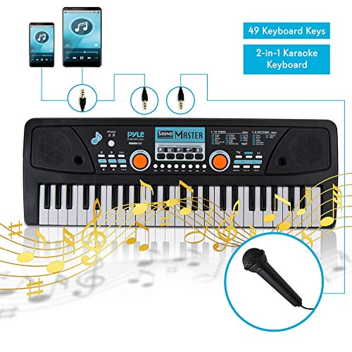 Pyle Digital Electronic Kids Musical Keyboard  49 Keys Portable Electric Piano w/Drum Pad, Recording, Rechargeable Battery, Microphone  PKBRD4112
