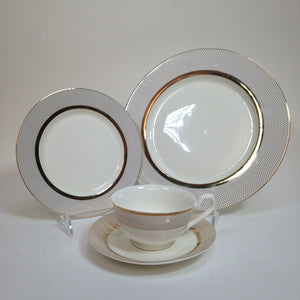 Joseph Sedgh Collection SR-34G 20 Piece Round Fine Bone China Dinnerware Set, Isabella - Service for 4 NO COMPOTE BOWL