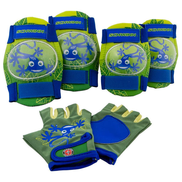 Schwinn Child Gloves, Knee and Elbow Pads, Green With Blue