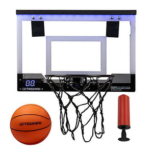 "TRP Triumph 18"" LED Light-Up Over The Door Mini Basketball Hoop Set"