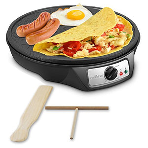 NutriChef Electric Griddle & Crepe Maker Nonstick 12 Inch Hot Plate Cooktop | Adjustable Temperature Control | Batter Spreader & Wooden Spatula (PCRM12)
