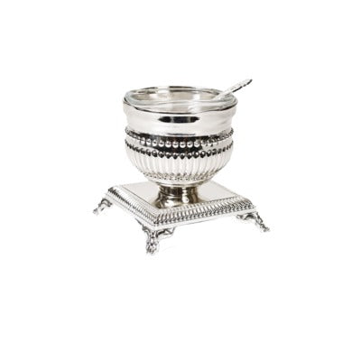 A&M Judaica Salt Holder with Spoon, Beaded Design - Silver Plated (6.5