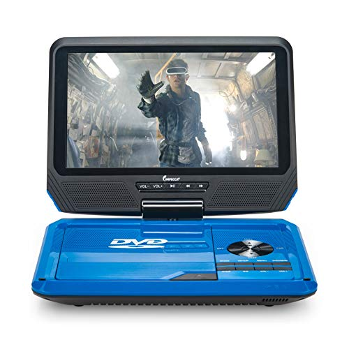 "Impecca 9"" Portable DVD Player with Flip and Swivel Screen Built in USB and SD/SDHC Memory Card Slots, Remote Control, Headphone Jack, AC Adapter, Car Power Adapter, Micro USB Cable A/V C"
