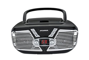 Sylvania Retro Style Portable CD Boombox with AM/FM Radio and Aux Input , Black