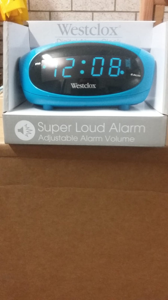 "Westclox .6"" Digital LED Alarm Clock, Adjustable Volume & Battery Backup - Blue"