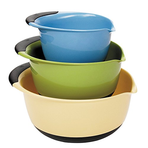 OXO Good Grips Mixing Bowl Set, Blue/Green/Yellow Bowls with Black Handles