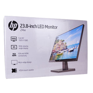 "HP 23.8"", HDMI/VGA 1080p, Widescreen LED Anti Glare Monitor, Black"