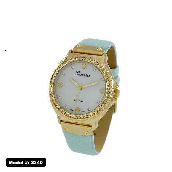 Geneva Jewel-Studded Watch with Leather Band, Mint