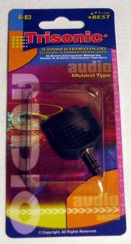 Trisonic A-83 3.5mm STEREO HEADPHONE SPLITTER Y ADAPTER FITS MP3