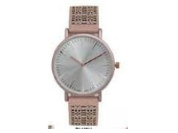 Geneva  Laser Cut Two- Tone Watch with  Leather Band, Blush