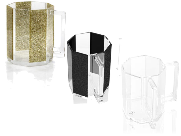 Waterdale Lucite Hexagon Washing Cup (Black Glitter, Gold Glitter, Clear)