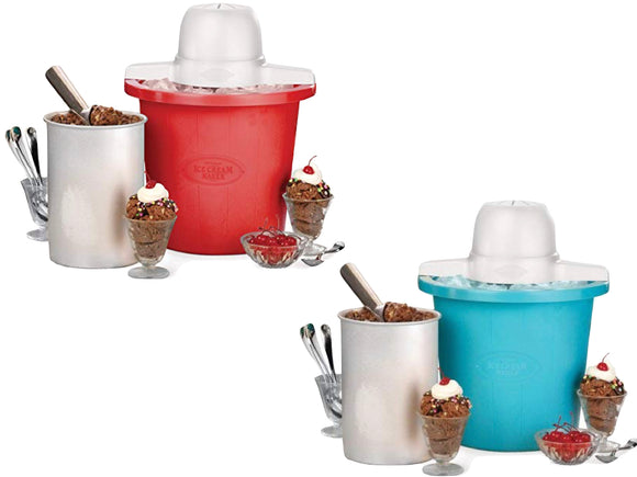 Nostalgia ICMP4RD 4-Quart Bucket Electric Ice Cream Maker, (Red, Blue)