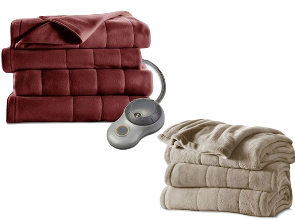 Sunbeam Microplush Heated Electric Blanket (Garnet Red, Beige)