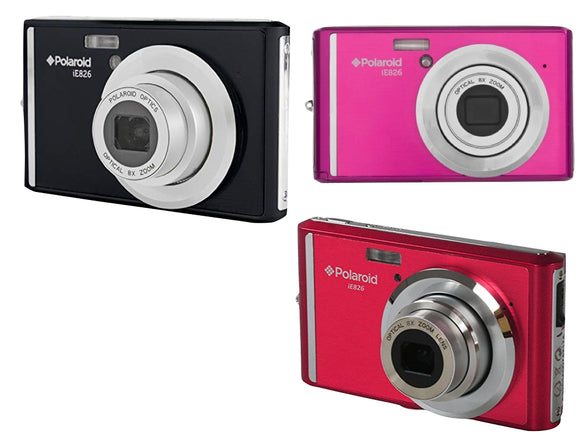 Polaroid iE826 Digital Camera 18 Megapixel Rechargeable Battery (Black, Pink, Red)