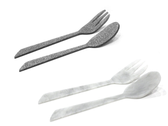 Waterdale Lucite Salad Servers Large Diagonal (Silver Clear, Marble Clear)