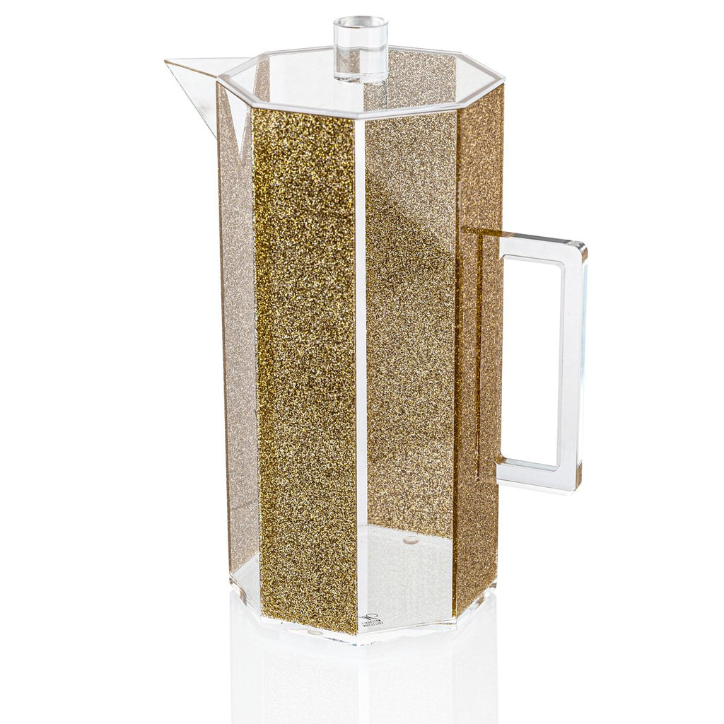 Waterdale Lucite Hexagon Pitcher, (4 Qt) (Gold, Silver, Marble)
