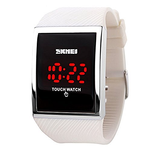 Skmei Children's Digital LED Waterproof Watch with Touch Screen, White