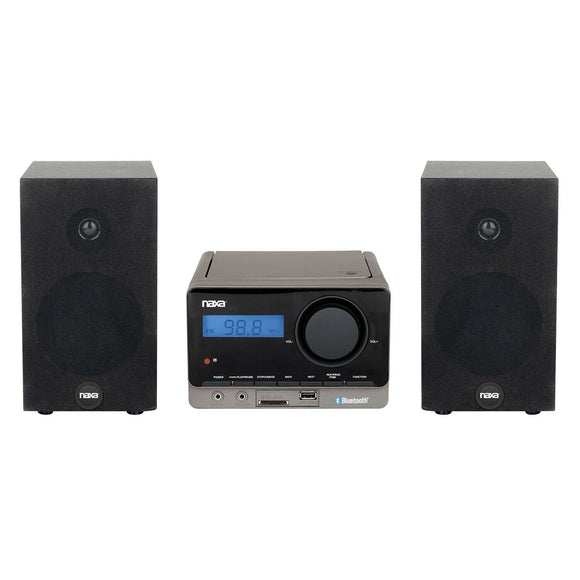 Naxa MP3/CD Stereo Shelf System, Bluetooth, USB, AUX, Digital FM Tuner, Remote, 2x 2.5Watts