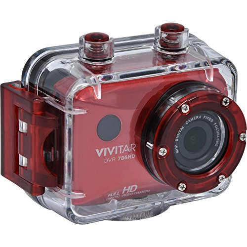 Vivitar DVR786HD Red 12.1MP Full HD Waterproof Action Camera 4x Zoom, Timer, Mic, No Speeaker