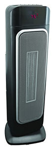 "Comfort Zone 23"" Ceramic Tower Heater, Digital Thermostat, Remote, Anti Tip, Black"