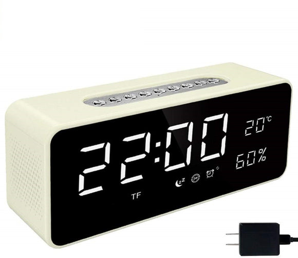 Orionstar S1 Alarm Clock Radio with FM, Wireless Bluetooth Speaker with 8 Inch LED Screen Snooze Sleep Timer Dimmer USB Port Thermometer Display TF AUX Micro SD Slot