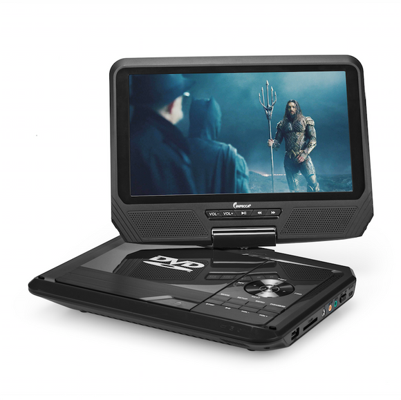 IMPECCA DVP-917K 9-inch 270° Swivel Screen Portable DVD Player, USB & SD Slots,Ability to Copy from CD to USB, 3-4 hours playback, Remote Control, Black