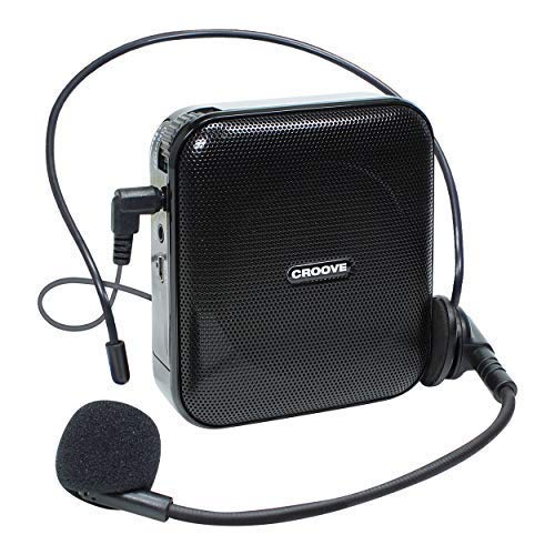 Croove Portable Rechargeable Microphone with Headset & Belt Clip