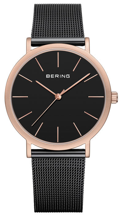 Bering Classic Polished Rose Gold & Black Watch
